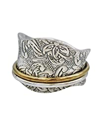 "Energy Stone ""SUNRISE"" Meditation Spinning Ring Comfort Style Antiqued-Silver Etched Floral Shank (Style SR44)"
