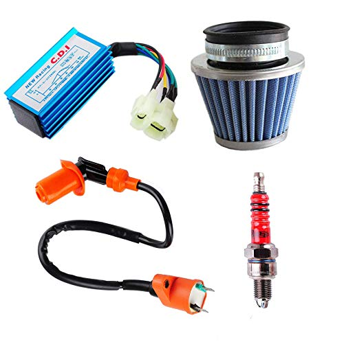 (Podoy GY6 Cdi Ignition Coil Racing 6 Pins with Air Filter Spark Plug for 50cc-125cc 150cc Moped Scooter 139QMB 152QMI 157QMJ Go Kart Engine)