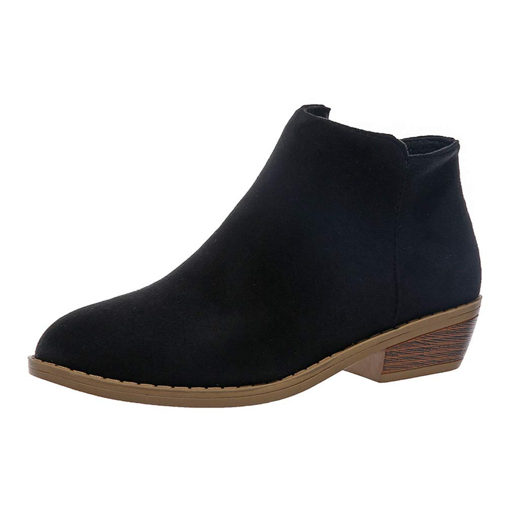 Ankle Short Boots for Women,Jchen Ladies Snakeskin Print Casual Rome Retro Short Ankle Boots Zipper Square Heels Shoes Black by Jchen_Women Winter Boots