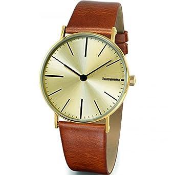 Lambretta Cesare Gold Cognac Cream Edelstahl Gold Braun Leder Herren Uhr Retro