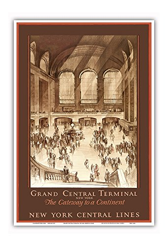 Grand Central Terminal, New York - The Gateway to a Continent - New York Central Lines - Vintage Railroad Travel Poster by Earl Horter c.1920s - Master Art Print - 13in x 19in Collectible New York Central Railroad