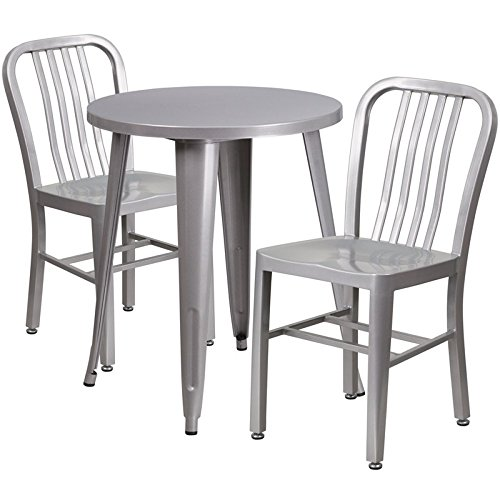 Brimmes 3-pcs Table Set Round 24'' Silver w/2 Vertical Slat Back Chairs - 24' Round Bistro Table