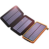 Solar Charger, X-DRAGON 10000mAh Solar Power Bank with Foldable Solar Panel Portable Rugged Water-Resistant Shockproof Dual USB Solar Battery Charger for iPhone, Samsung Galaxy ipad and More-Orange