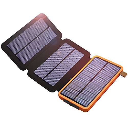 - Solar Power Bank, X-DRAGON 10000mAh Solar Charger with 3 Solar Panels,Dual USB, Bright LED Portable Rugged Shockproof Dual USB Solar Battery Charger for iPhone, Cell phone and More-Orange