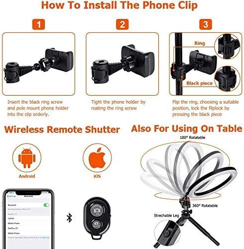 3 Colores de luz y 11 Niveles de Brillo para Selfie Anillo aro de luz de 10 Inch con 2 tr/ípode Youtube iluminaci/ón para Maquillaje Live Stream Mando a Distancia Bluetooth