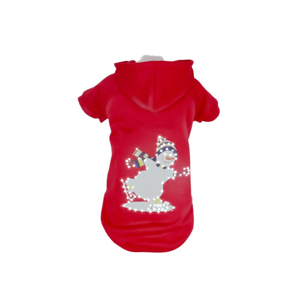 Red Snowman Medium Red Snowman Medium PET LIFE 'Snowman' LED Lighting Fashion Designer Holiday Christmas Pet Dog Costume Sweater Hoodie w Included Batteries, Medium, Red Snowman