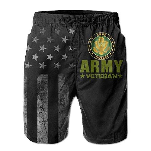 SANNER-SU Army Veteran with American Flag Men's Beach Shorts Swim Trunks - Swimsuit Athletic Shorts ()