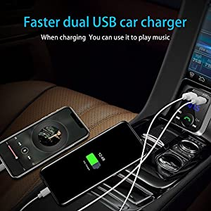 Bluetooth FM Transmitter, BathTyson Bluetooth Car Adapter, Wireless Bluetooth Radio Transmitter Adapter with Dual USB Charging Ports, Hand-Free Calling, Support Micro SD Card/USB Flash Drive