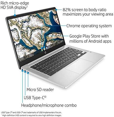 HP Chromebook 14-inch HD Laptop, Intel Celeron N4000, 4 GB RAM, 32 GB eMMC, Chrome (14a-na0010nr, Mineral Silver) (Renewed) WeeklyReviewer