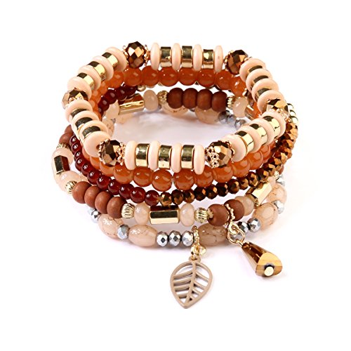 kpajewelry Multi Strand Bead Layering Statement Bracelets - Colorful Beaded Stretch Bangles, Leaf Charm (Cutout Leaf Charm - Brown)