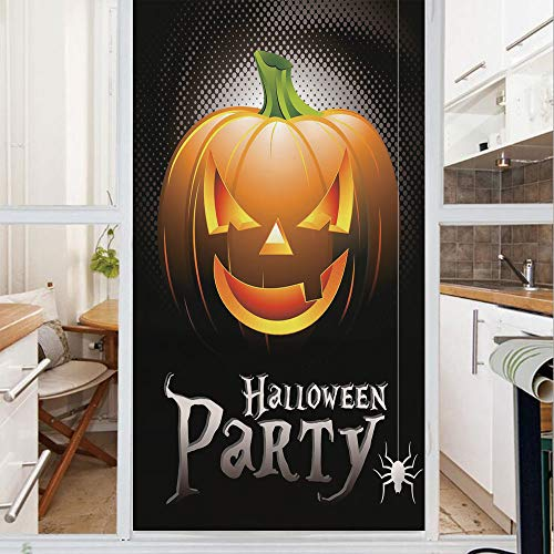 Decorative Window Film,No Glue Frosted Privacy Film,Stained Glass Door Film,Halloween Party Theme Scary Pumpkin on Abstract Modern Backdrop Spider Decorative,for Home & Office,23.6In. by 35.4In Silver -