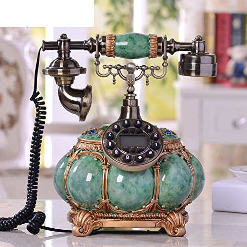 AMYDREAM Resin Retro Antique telephone Decorative,Classical Vintage Wired Antique Fixed telephone New European High-end creative landline telephone home -A 25x30cm(10x12inch)