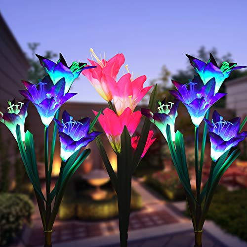 Wohome Outdoor Solar Garden Stake Lights,3 Pack Solar Flower Lights with 12 Lily Flower, Multi-Color Changing LED Solar Landscape Lighting Light for Garden, Patio]()