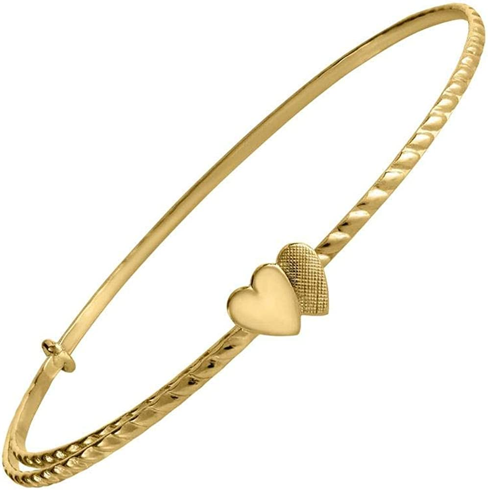 14K Yellow Gold Double Heart Adjustable Bangle Bracelet for Children
