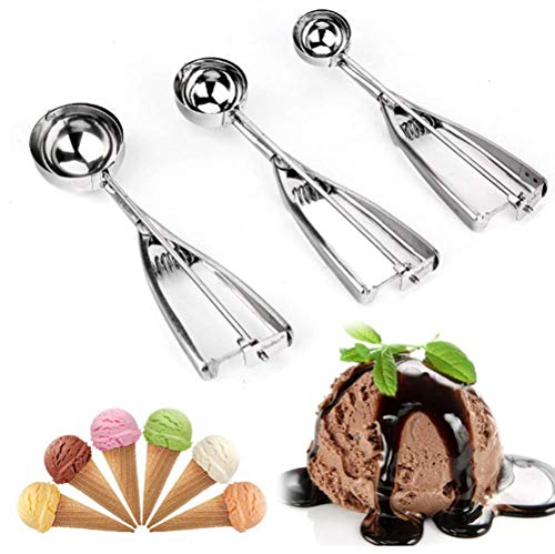 (3PCS Cookie Scoop Set,Kitchen Scoop Melon Baller Scoop Ice Cream Scoop Set,Stainless Steel Ice Cream Scoop Trigger Include small size, medium size,large size(cookie scoop))