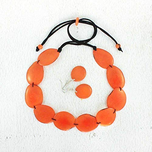 Chunky Orange Statement Necklace and Earrings Set made of Tagua Nut, Eco Friendly Fair Trade Jewelry for Women