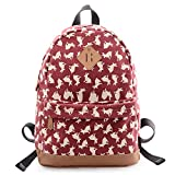 Douguyan Casual Lightweight Print Backpack for Girls and Women School Rucksack Red rabbit 133