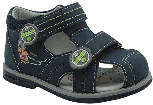 Apakowa Kids Boys Double Adjustable Strap Closed-Toe Orthopedic Sandals (Color : DarkBlue, Size : 5 M US Toddler)