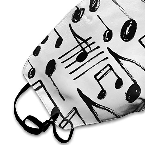Dust Mask Hand Drawn Music Notes Fashion Anti-dust Reusable Cotton Comfy Breathable Safety Mouth Masks Half Face Mask for Women Man Running Cycling Outdoor