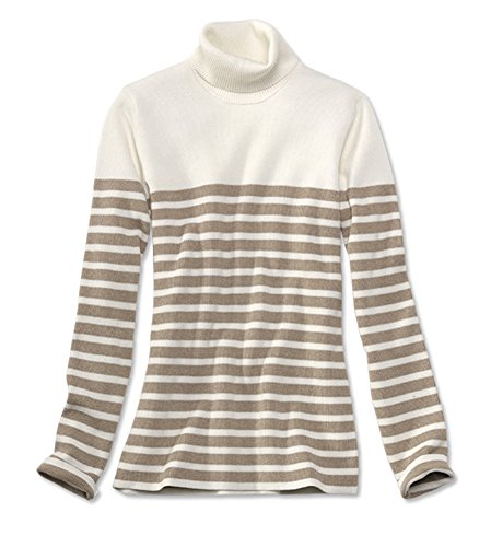 Orvis Women's Striped Ribbed Cotton-blend Turtleneck, Camel/Ivory, X Large (Orvis Cotton Cardigan)