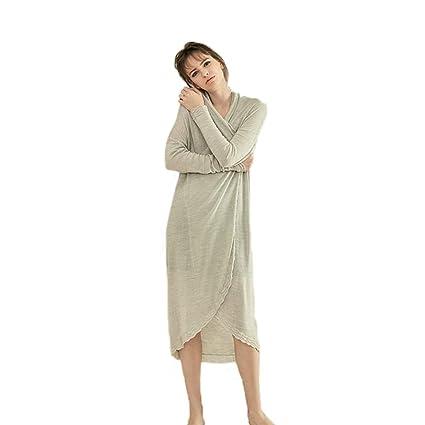 Bata para Mujer Ropa De Dormir Fleece Pijamas De Lana Suave Traje De Dama con Cinturón