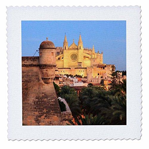 3dRose Danita Delimont - Spain - Spain, Mallorca, Palma de Mallorca. La Seu Cathedral at dusk. - 20x20 inch quilt square (qs_277910_8) by 3dRose