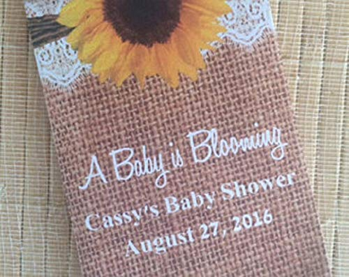Sunflower Baby shower seed packet favors with lace and burlap (30 count) - Burlap and lace favors - Sunflower baby shower favors ()