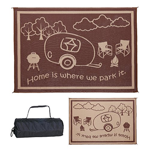 Stylish Camping RH8117 Brown/Beige 8'x11' RV Home Mat by Stylish Camping