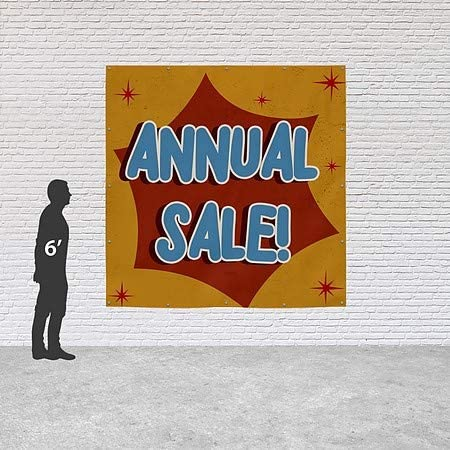 6x6 Annual Sale CGSignLab Nostalgia Burst Heavy-Duty Outdoor Vinyl Banner