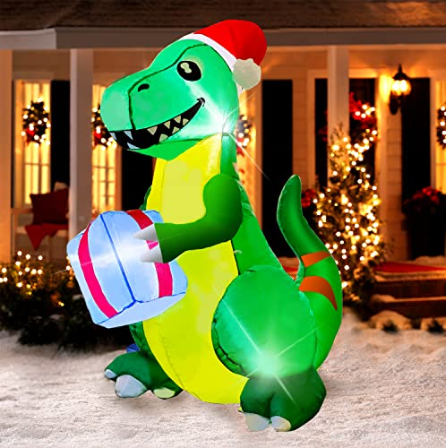 Yostyle 5Ft Tall Christmas Inflatable Green Dinosaur, Outdoor Inflatable Christmas Decorations with Christmas Hat and Present LED Lights Decor, Christmas Blow up Decor for Holiday Yard Lawn Garden