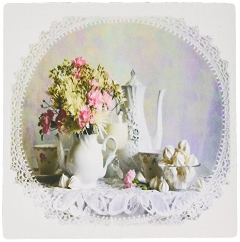 Victorian Still Life - 3dRose LLC 8 X 8 X 0.25 Inches Victorian Still Life in White N Pink Mouse Pad (mp_109413_1)