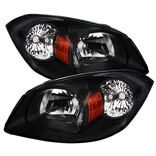 Carpartsinnovate Pontiac 05-06 Pursuit 07-09 G5 05-10 Chevy Cobalt Black Headlights Left+Right