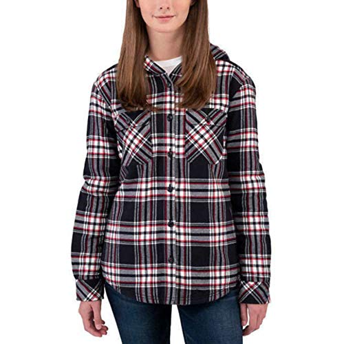 Boston Trader Ladies Sherpa Lined Hooded Flannel (Black, X-Small)