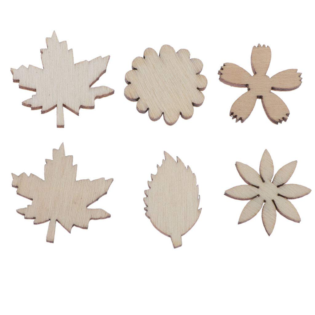 DIY Arts Crafts perfektchoice 100Pcs Flower and Leaf Shapes Blank Wood Heart Embellishments Wood Birds Slices for Wedding Card Making Valentine
