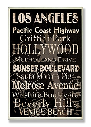 The Stupell Home Decor Collection Los Angeles Landmark Typography Rectangle Wall (Los Angeles Black And White)