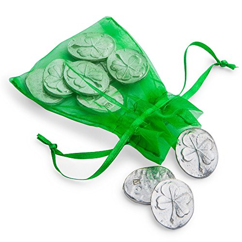 Vilmain Pewter Clover Pocket Tokens, Bag of 10 Pocket Coins- Danforth Pewter - Good Luck Token