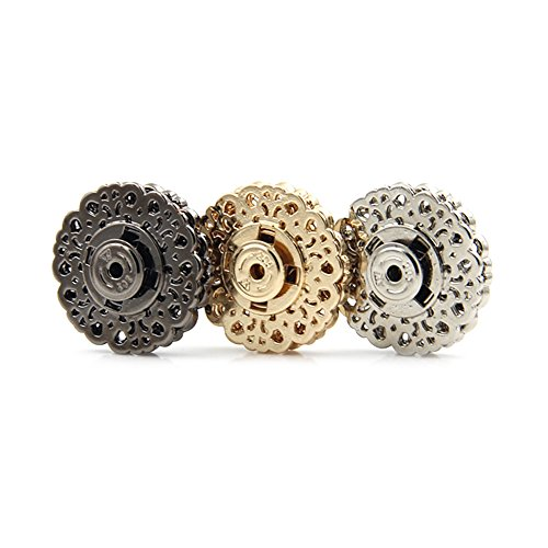 6pcs Metal Snap Buttons Clasp Buttons Hollow Flower Sewing Press Studs Buttons Coat Buttons (21mm, Silver) ()