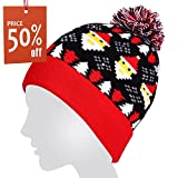 Light Up Hat,Coeuspow String Light Up Beanie Hat Knit Cap with 6 Colorful Lights 3 Flashing Mode for Party,Lightshow,Jogging,Walking,Dancing,Christmas Gift (Red)