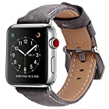 Transhare High-grade Soft Full-grain Leather with Stainless Steel Metal Buckle and Clasp Adapters iWatch Replacement Band for Apple Watch Series 3, 2, 1, Sport, Edtion (Gray, 42mm)