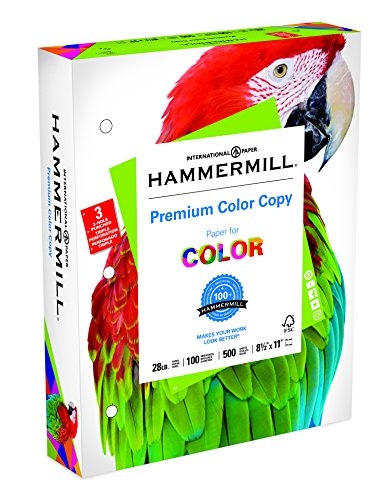 - Hammermill Paper, Premium Color Copy Paper 8.5 x 11 Paper, Letter Size, 3 Hole, 28lb Paper, 100 Bright, 1 Ream / 500 Sheets (102500R) Acid Free Paper