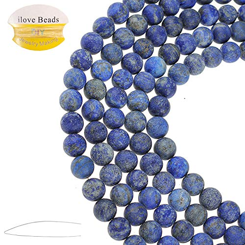 ILVBD Natural Round Real Lapis Lazuli Gemstone Smooth Matte Loose Beads 4/6/8/10/12MM for DIY Bracelet Jewelry Making 15 inch One Strand (Lapis Lazuli, - Porcelain Lapis