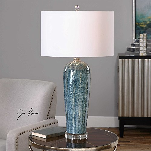 The Maira Blue Ceramic Table Lamp By Jim Parsons