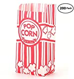 Bekith 200 Piece Paper Popcorn Bags, Red & White, Premium Retro Style