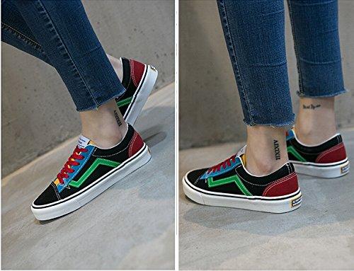 Scarpe Di Tela Di Colore A Contrasto Nuove Sneakers Ulzzang Di Moda Per Le Donne (lacci Delle Scarpe A 4 Colori)