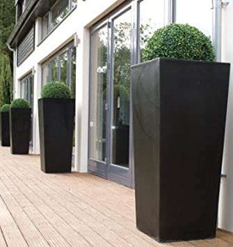 Charmant Fibreglass Planters. Tapered Terrazzo Effect Tall Planters Large