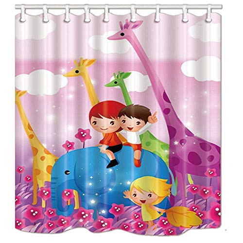 Shower Flower Giraffe Blue (Afagahahs Kids Park Decor Children on Elephant with Giraffe in Flowers Shower Curtains Mildew Resistant Polyester Fabric Bathroom Decorations Shower Curtain Hooks Included)