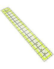 """ARTEZA Quilting Ruler, Laser Cut Acrylic Quilters' Ruler with Patented Double Colored Grid Lines for Easy Precision Cutting, 2.5"""" Wide x 18"""" Long for Quilting, Sewing & Crafts, Black & Lime Green"""