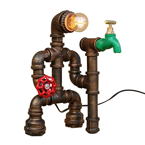Lingkai Industrial Desk Lamp Retro Steampunk Table Lamp Rust Light Iron Lighting with Red Valve Handle and Switch