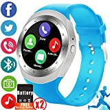 2018 Newest Bluetooth Smart Watch, Synmila Touch Screen Smart Wrist Watch Cell Phone with SIM Card for Men Women with Pedometer Waterproof Fitness Tracker Wearable Phone Watch for Android IOS (Blue)