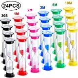 Kitchen & Housewares : 24 Pieces Sand Timer Plastic Sandglass Timer Colorful Hourglass Timer Sand Clock Timer 30S 1Min 2Mins 3Mins 5Mins 10Mins for Adult Kids in Classroom Kitchen Games Office